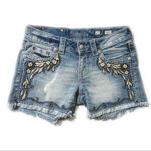 MISS ME Frayed Light Washed Shorts